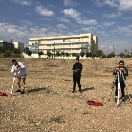 CVE Students While Surveying kUST Campus in Engineering Surveying